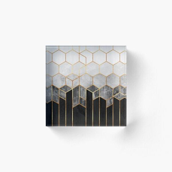 Holzkohle-Sechsecke Acrylblock