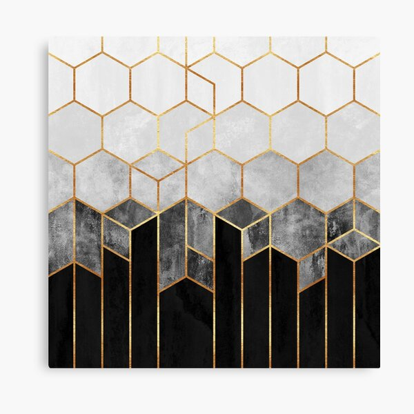 Charcoal Hexagons Canvas Print