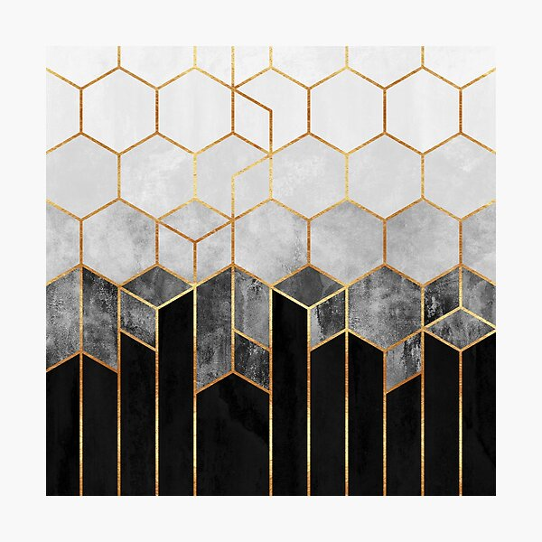 Hexagones de charbon de bois Impression photo