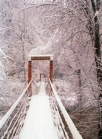 Old Mill Park Swinging Bridge by Kent Nickell