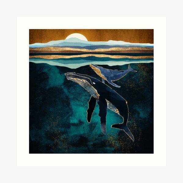 Moonlit Whales Art Print
