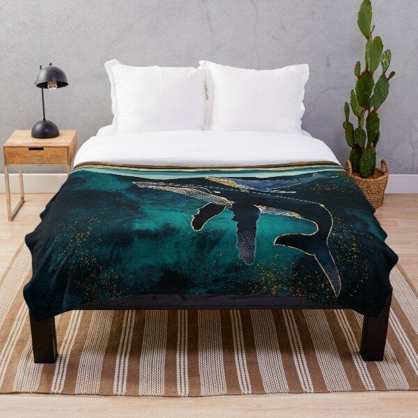Moonlit Whales Throw Blanket