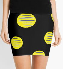 Circles, Lines, Graphic art, African Print, New Africa Print, Black, Yellow, Blue, African Fabric Mini Skirt
