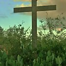 Rustic Cross Among the Prickly Pears by Susan Russell