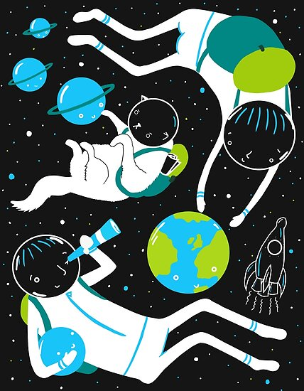 A Day Out In Space - Black by Sarah Crosby