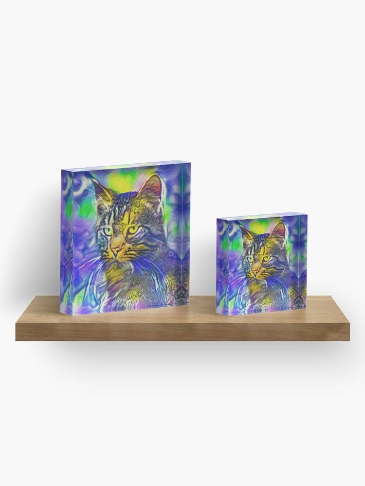 Alternate view of Artificial neural style iris flower cat Acrylic Block
