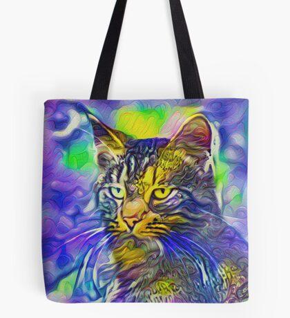 Artificial neural style iris flower cat Tote Bag