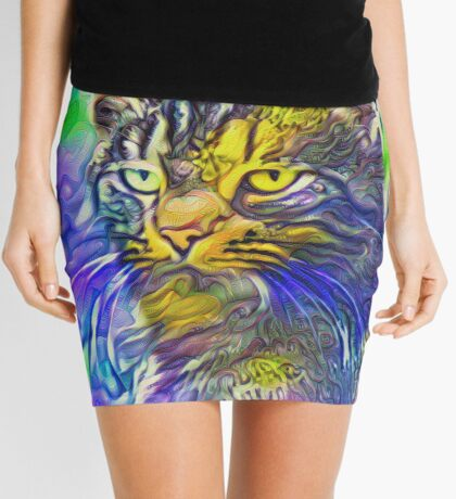 Artificial neural style iris flower cat Mini Skirt
