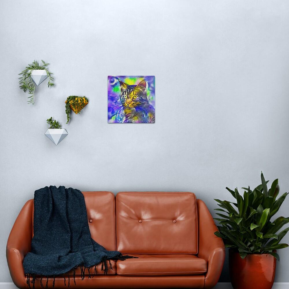 Artificial neural style iris flower cat Metal Print