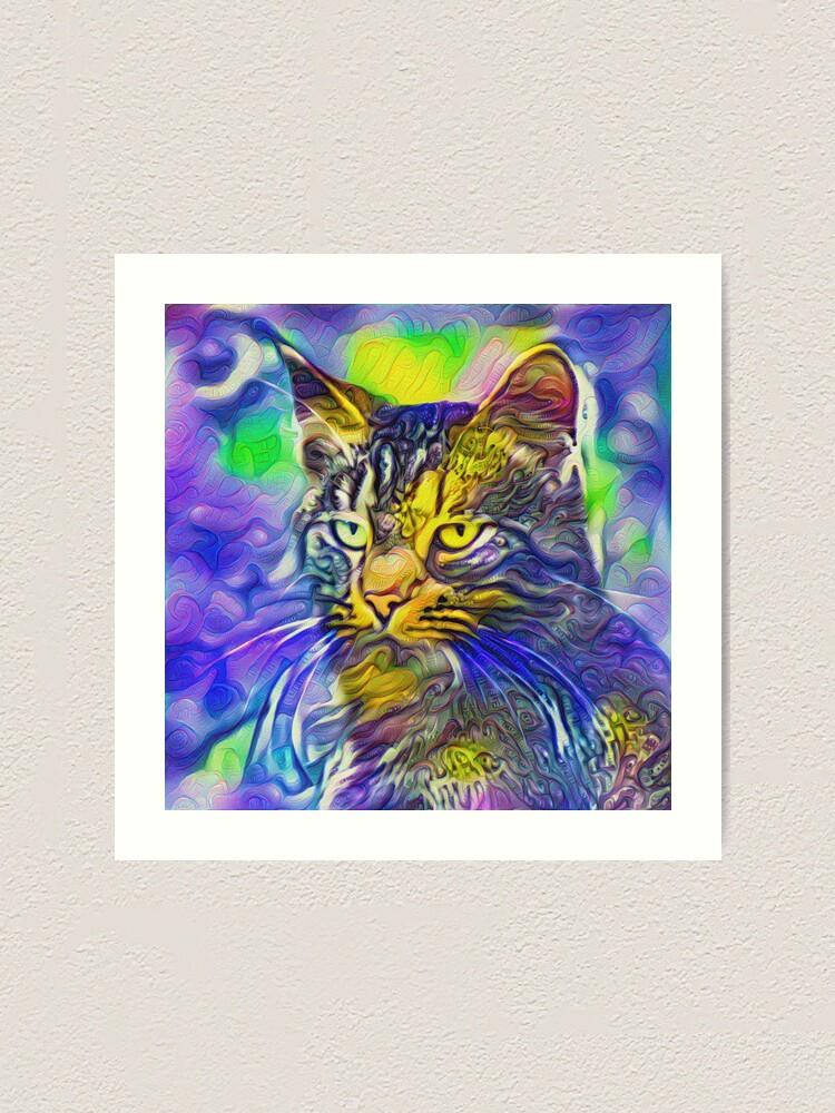 Alternate view of Artificial neural style iris flower cat Art Print