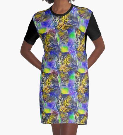 Artificial neural style iris flower cat Graphic T-Shirt Dress