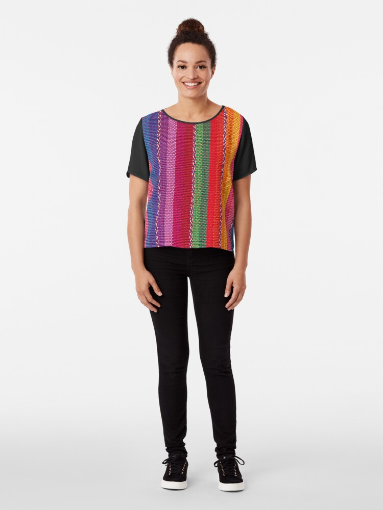 Alternate view of Mexican Pattern Chiffon Top