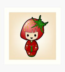 Strawberry Kokeshi Doll Art Print