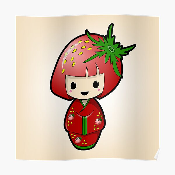 Strawberry Kokeshi Doll Poster