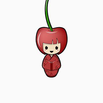 Cherry Kokeshi Doll by BubbleDoll