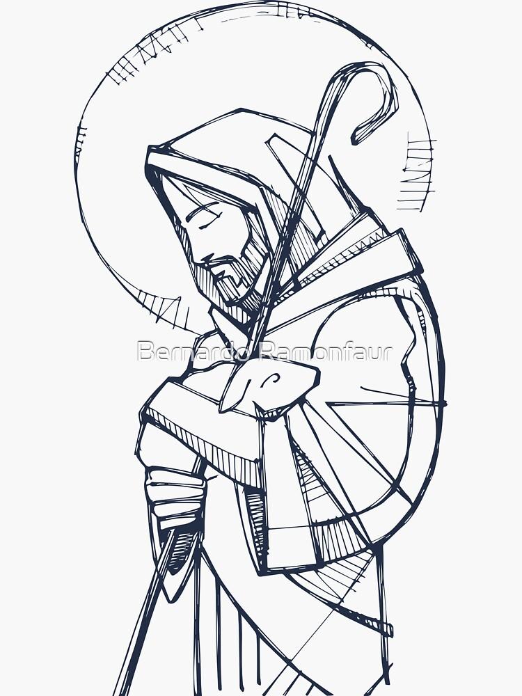 Jesus Christ Good Shepherd ink illustration by bernardojbp