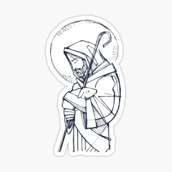 Jesus Christ Good Shepherd ink illustration Sticker