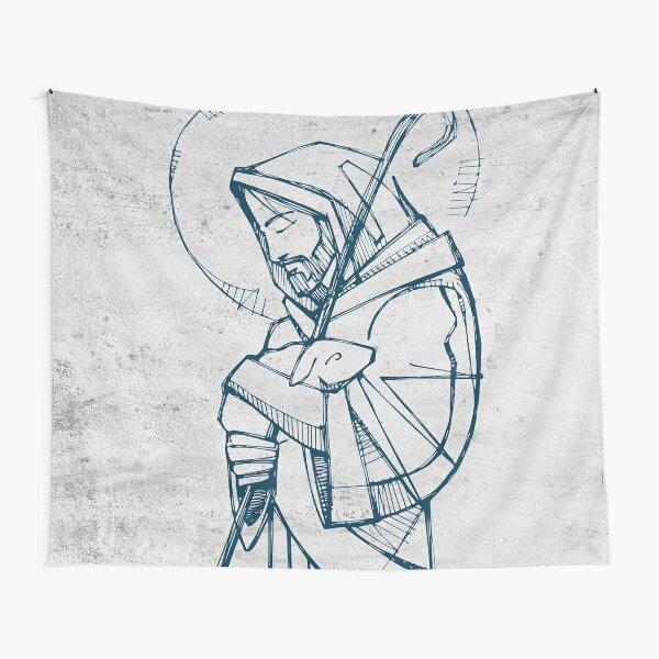 Jesus Christ Good Shepherd ink illustration Tapestry