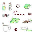 Peppermint Essential Oil Themed Sticker Set by pixelmist