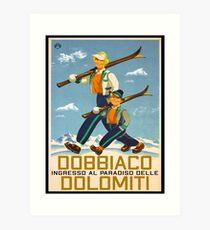 Ski Dobbiaco Skiing Dolomites Tyrol Art Print