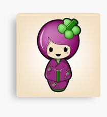 Mangosteen Kokeshi Doll Canvas Print