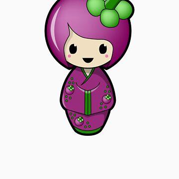 Mangosteen Kokeshi Doll by BubbleDoll