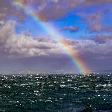 Rainbow in Rough Seas by DARRINSWORK