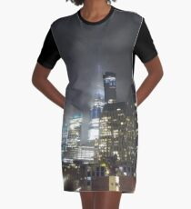 #skyscraper, #cityscape, #tower, #street, #sky, #road, #vertical, #colorimage Graphic T-Shirt Dress