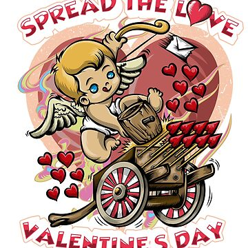 Spread The Love Valentines Day Cupid Arrow Heart Design by tronictees