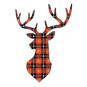 Cute Christmas Gifts Reindeer Buffalo Plaid  Holiday Shirts  by arnaldog