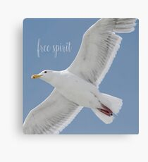 Gull with Inspirational Saying Canvas Print