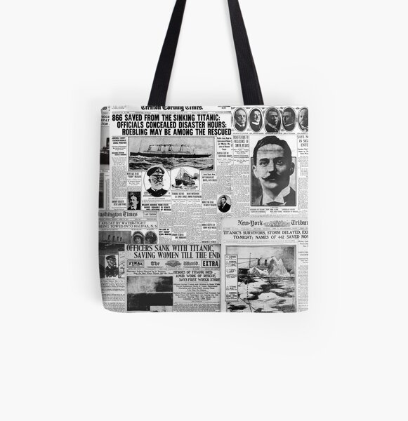 Antique Titanic Newspaper Headlines Pattern  All Over Print Tote Bag