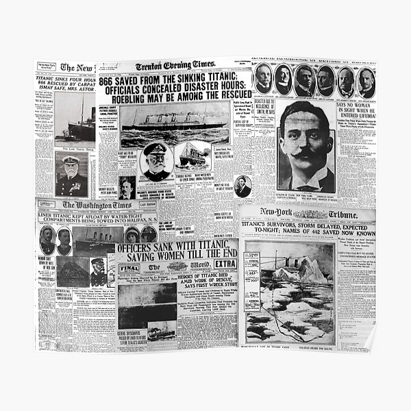Antique Titanic Newspaper Headlines Pattern  Poster