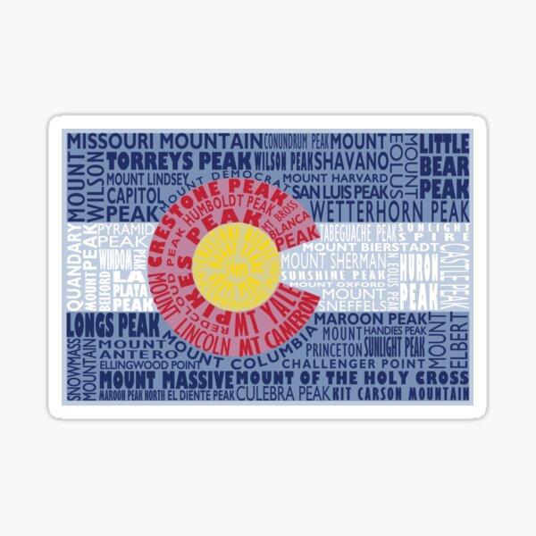 Colorado Fourteeners State Flag 14ers Mountain Climber Gift Sticker