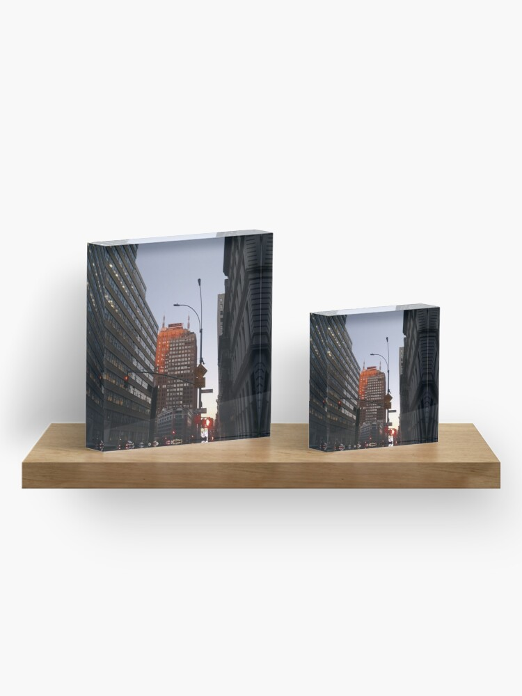 Alternate view of #city, #skyscraper, #street, #architecture, #road, #cityscape, #tower, #sky Acrylic Block