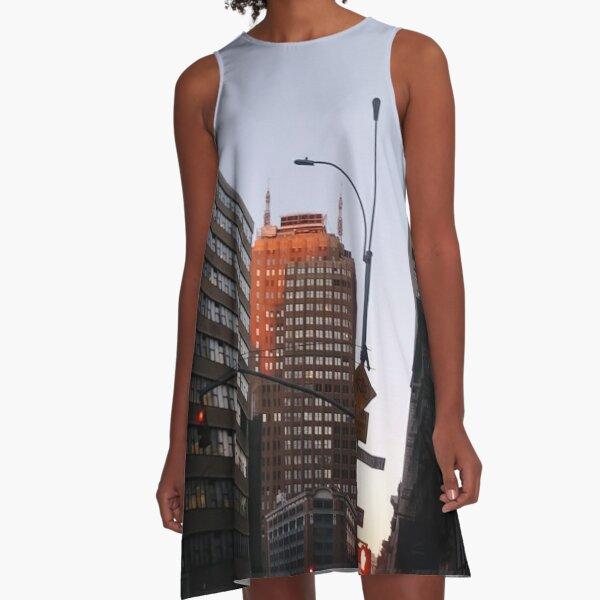 #city, #skyscraper, #street, #architecture, #road, #cityscape, #tower, #sky A-Line Dress