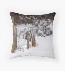 Winter Fence Throw Pillow