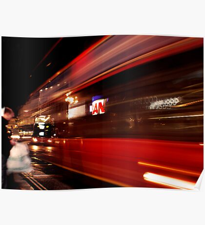 Piccadilly: Bus passing by. Poster
