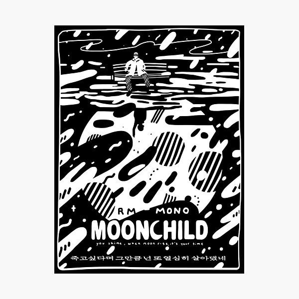 """☾ RM - MONO - """"Moonchild"""" ☽ Photographic Print"""