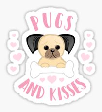 Pugs and Kisses - Pug Pun - Valentines Pun - Funny Valentines - Dog Pun - Dog Mum - Dog Mum - Pug Mum - Pug Mom Sticker