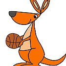 Cool Kangaroo Playing Basketball Cartoon  by naturesfancy
