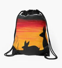 Rabbit Silhouette Sunset Oil Painting  Drawstring Bag
