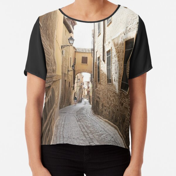 #Toledo, #architecture, #street, #alley, #house, #town, #old, #narrow Chiffon Top