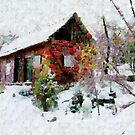 A digital painting, in the style of Leonid, of Our Barn in the Snow by Dennis Melling