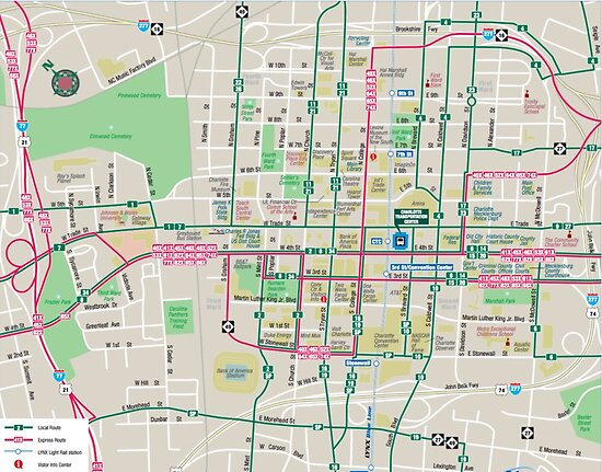 Charlotte In Usa Map.Charlotte System Transit Map Usa Posters By Superfunky Redbubble