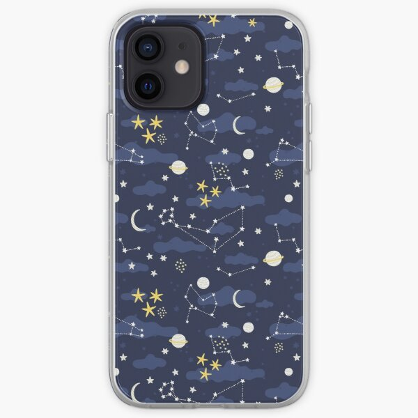 Galaxy - cosmos, moon and stars. Astronomy pattern. Cute cartoon universe design. iPhone Soft Case
