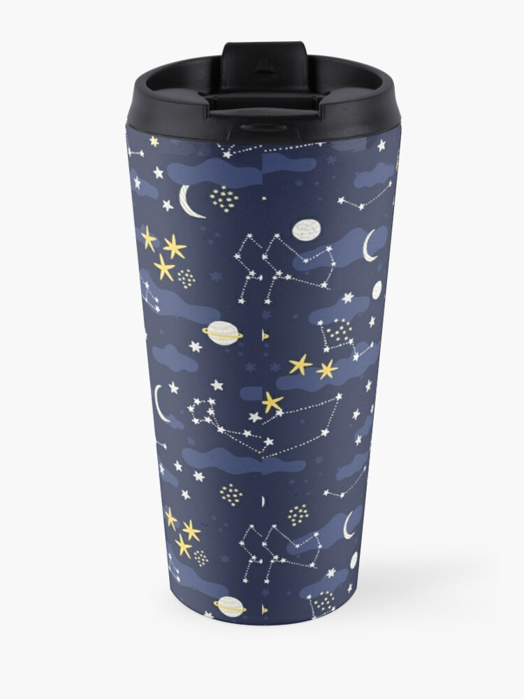 Alternate view of cosmos, moon and stars. Astronomy pattern Travel Mug