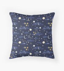 cosmos, moon and stars. Astronomy pattern Throw Pillow