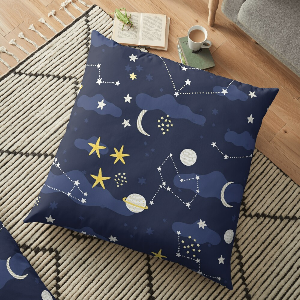 cosmos, moon and stars. Astronomy pattern Floor Pillow