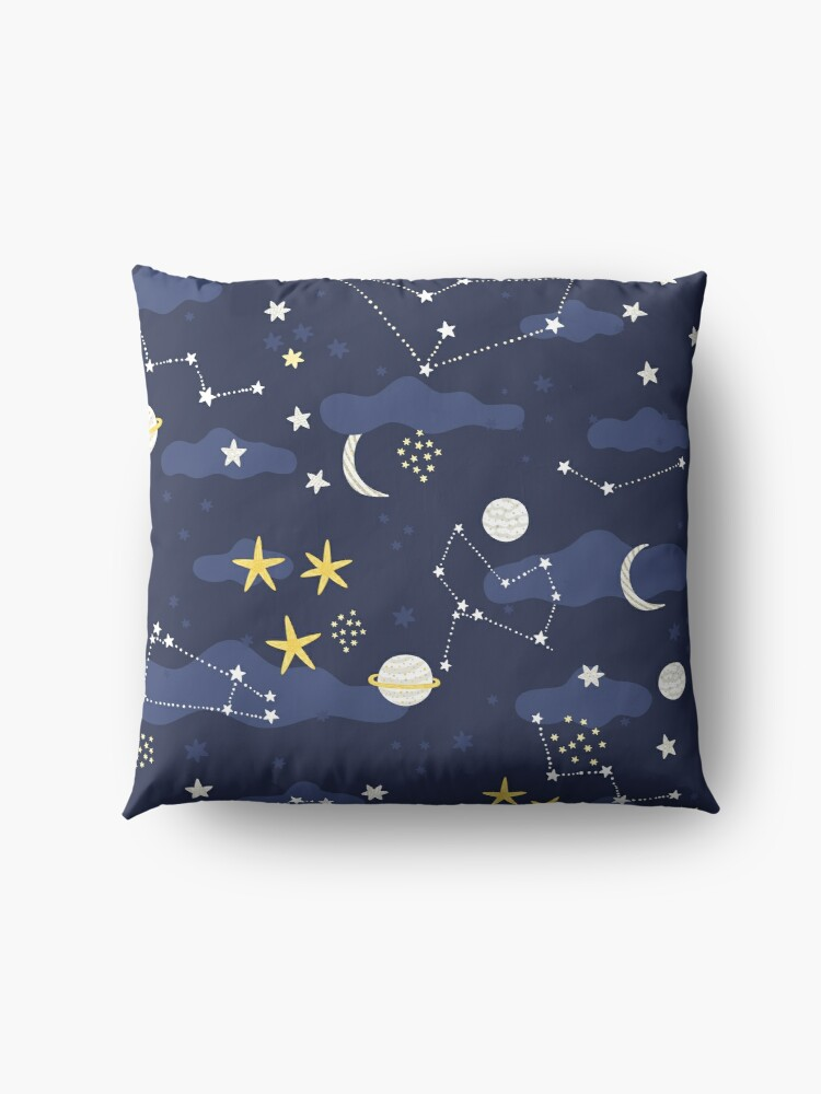 Alternate view of cosmos, moon and stars. Astronomy pattern Floor Pillow